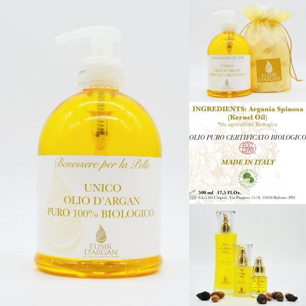 Olio d'Argan 500ml. olio per pelle elastica e tonica   Elisirdargan.com
